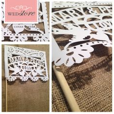 Banderines calados personalizados con los nombres de los novios para ambientar tu casamiento/boda.  Opcional: los banderines pueden venir con hilo para colgar en vez de palito.  Para ver más detalles del producto y comprarlo online:  http://www.wedstyle.com.ar/wedstore/index.php/ambientacion-16/objetos-de-ambientacion/guirnaldas/banderines-calados-personalizados.html  *WEDstore.com.ar