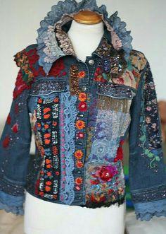 Create a unique jacket, using dimensional trim, lace, appliques and buttons