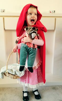 Cute idea for Little Red Riding Hood costume for World Book Day. Toy wolf from Ikea. World Book Day Costumes, Red Riding Hood Costume, Little Red, Fancy Dress, Baby Car Seats, Ikea, Wolf, Children, Holiday