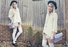 Vintage Hat, Vintage White Jumper, Vintage Floral Shirt, Cambridge Satchel Lilace Satchel, Waiste Clueless Socks, Asos Clogs, Uo Moon Necklace Thigh High Tights, White Jumper, Haute Hippie, All About Fashion, Vintage Floral, I Dress, Korean Fashion, Bell Sleeve Top, Style Inspiration