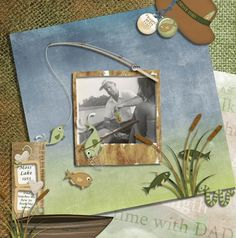 "Fishing with my Dad, 1953 - He was teaching me how to put a worm on a hook - Layout done with Couric Designs ""Father's Day Fishing Add-On"" kit - http://digitalscrapbooking-supplies.com/index.php?main_page=advanced_search_result=Fishing_in_description=1_id=_id======34=6"