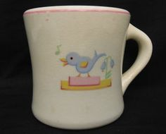 Vintage 1940's heavy restaurant ware china  bluebird mug, no markings, but could be the type used in a department store tea room which catered to children dining with their mothers.