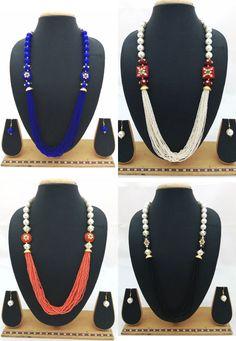Indian Bollywood Latest Celebrity Designer Pearl Glass Beads Enamel Necklace Set #ShouryaExports #NecklaceSet