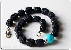 Volcanic Santorini Lava Rock Rectangular Beads and Turquoise Bead Necklace .  Knotted @Sun San @GreekMythos GreekMythos @piscesandfishes