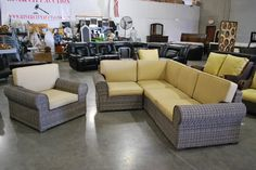 Chair and sectional patio set with tan cushions