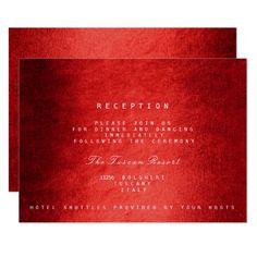 Woodland Wedding Reception Red Woodland Fall Autumn Vip Wedding Reception Card