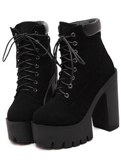 Black Chunky High Heel Hidden Platform Boots 40.00