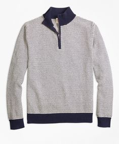 Brooks Brothers Stripe Cotton Half-Zip Sweater ~ Slim stripes lend a nautical vibe to this classic half-zip sweater. Crafted from soft cotton and styled with solid rib kit at the stand collar, cuffs and hem.