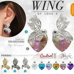 """Wing of Love II"" #Swarovski #Crystal  #elements #Xilion Heart  design /size  18 mm. #Hummingbird #cz Dimond #Silver #titanium. ($79) #Mix&Match favorite bird and heart color"