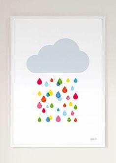 multicoloured rain cloud print by showler and showler   notonthehighstreet.com