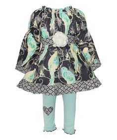 Look at this #zulilyfind! AnnLoren Blue & Gray Birds Dress & Leggings - Infant, Toddler & Girls by AnnLoren #zulilyfinds