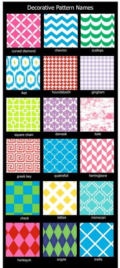 Quilt Pattern Names List pattern names for the most common patterns used for graphic design