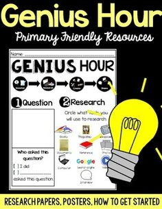 Looking for a Genius Hour resource that is primary friendly, heavy on the… Inquiry Based Learning, Project Based Learning, Genious Hour, Elementary Bulletin Boards, Gifted Education, Reading Centers, Passion Project, Research Projects, Teaching