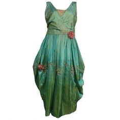 "* ""Paul Poiret Style"" Evening Dress - Green iridescent tissue silk with silver metallic couching and embroidered lace"
