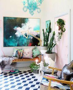 Bright bold art, colorful tile floors, cacti - @fenton_and_fenton via Instagram