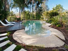 curvy swimming pool with beach no-step entry, unknown designer, Australia