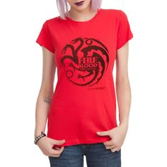 Hot Topic Game Of Thrones Targaryen Fire And Blood Girls T-Shirt ($22) ❤ liked on Polyvore featuring tops, t-shirts, hot topic t shirts, hot topic top, red t shirt, fitted tee and fitted t shirts