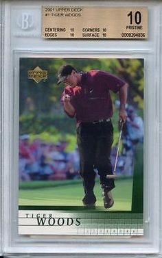 Other Sports Trading Cards 217: 2001 Upper Deck #1 Tiger Woods Bgs 10 Quad Pristine Subs (Rookie) -> BUY IT NOW ONLY: $398.75 on eBay!