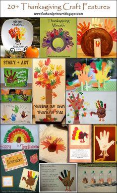 Handprint & Footprint Thanksgiving Crafts #HandprintHolidays