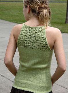 Lace Back Tank - Knitting Patterns by Melinda VerMeer