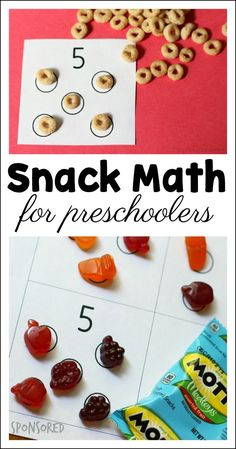 Math for preschoolers to play during snack time - includes free printable (sponsored by General Mills) Let kids use their snack time to explore early math concepts in an easy, fun way! Grab this snack math for preschoolers free printable. Preschool Prep, Preschool At Home, Preschool Classroom, Toddler Preschool, Preschool Printables, Preschool Number Crafts, 3 Year Old Preschool, Toddler Daycare, Preschool Family