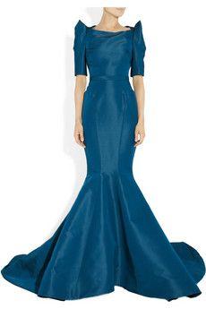 Zac Posen Silkfaille Gown in Blue (teal) - Lyst jaglady Filipiniana Wedding Theme, Filipiniana Dress, Wedding Gowns, Simple Dresses, Blue Dresses, Formal Dresses, Alexander Mcqueen Ring, Black Tie Affair, Fashion Show