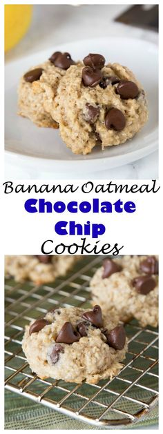 Banana Oatmeal Chocolate Chip Cookies– Tender and super moist chocolate chip cookies loaded with oats and bananas. Thick, chewy, and fun new treat!