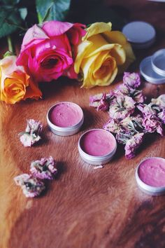 homemade lipbalm- honey, rose and green tea, homemade cosmetics DIY