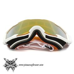 """Gafas Piloto Motocross Off-Road ATV Modelo """"Aggressive"""" Color Blanco con Lente Naranja - 16,72€ - ENVÍO GRATUITO EN TODOS LOS PEDIDOS"""