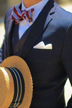dresswellbro:Vintage Straw Boater Striped Bowtie Windowpane Suit