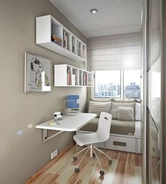 Try a fold down desk is small spaces