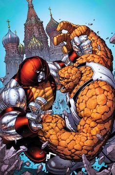 Colossus-Juggernaut v Thing by Dale Keown! (Marvel comics)