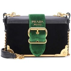 Prada Leather-Trimmed Velvet Shoulder Bag (8.005 RON) ❤ liked on Polyvore featuring bags, handbags, shoulder bags, purses, black, velvet handbags, velvet purse, velvet shoulder bag, hand bags and prada