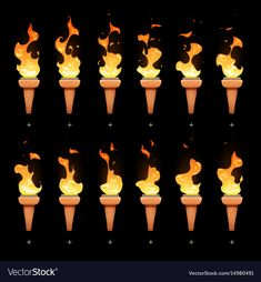Torch animation with cartoon fire blaze sequence vector image on VectorStock Fire Animation, Learn Animation, Animation Reference, Art Reference, Pixel Art, Fire Torch, Game Effect, Animation Tutorial, Bonfires