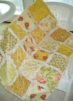 Buttercups & Sunshine Yellow Baby Rag Quilt by PeppersAttic