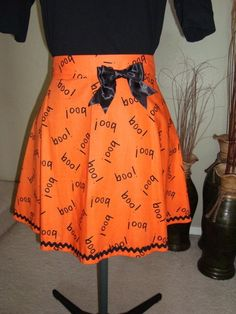 Halloween Boo Orange Half Apron with bow by ladybugsnlollipops, $30.00