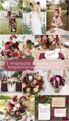 Decoração de Casamento : Paleta de Cores Marsala e Rosa Chá | Wedding Decor Color Palette Marsala and Blush | http://blogdamariafernanda.com/decoracao-de-casamento-paleta-de-cores-marsala-e-rosa-cha