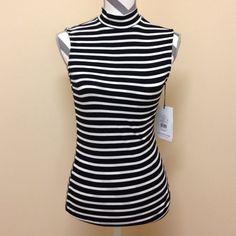 • WHOWHATWEAR • WHOWHATWEAR stripe sleeveless mock neck.   95 rayon 5 spandex. New never worn. WHOWHATWEAR Tops