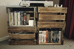 Tv stand/movie shelf made out of crates. So easy!