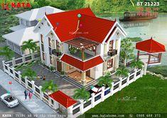 Nhà mái Thái 2 tầng đơn giản - Mã số: BT 21223 được thiết kế với diện tích 120m2 (10m x 12m) theo phong cách kiến trúc hiện đại kết hợp với khung cảnh thiên nhiên xung quanh. Với các thiết kế này khiến cho mẫu thiết kế nhà mái Thái 2 tầng đơn giản càng thêm phần nổi bật. Bungalow House Design, House Front Design, Small House Design, Indian Home Design, Kerala House Design, House Plans Mansion, Dream House Plans, Latest House Designs, Cool House Designs