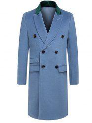 Panel Turndown Collar Longline Woolen Coat - BLUE