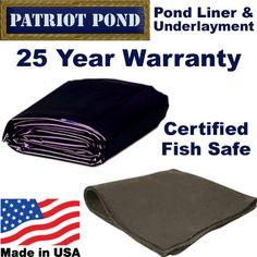 15 x 15 45 mil EDPM Patriot Pond Liner & Underlayment Combo Pond Construction, Pond Liner, Pond Filters, Rain Collection, Small Ponds, Garden Pond, W 6, Koi Ponds, Water Gardens