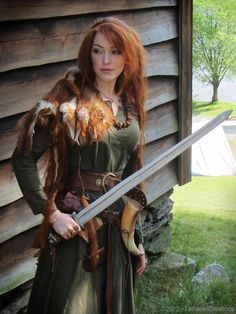 self hair girl myself outdoor lady outfit nature red hair woman norway long hair costume Redhead sword ginger warrior viking norse tatharielcreations Tathariel Tathariel creations norwegian Viking Age