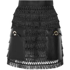 Toga Pulla faux leather-paneled fringed cotton mini skirt ($780) via Polyvore featuring skirts, mini skirts, bottoms, black, tiered cotton skirt, faux leather a line skirt, a line skirt, fringe skirt and short cotton skirts
