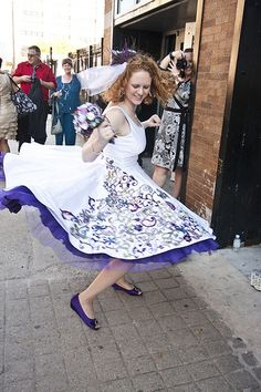 Painted dress and purple shoes with jewelry bouquet