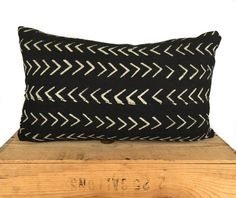 """12x20"""" Inch Black and White African Mud Cloth Pillow Cover Mudcloth Pillow by OneFineNest on Etsy https://www.etsy.com/listing/465376050/12x20-inch-black-and-white-african-mud"""
