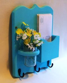 Mail Holder  Key Hooks  Jar Vase  Organizer by LegacyStudio, $24.95