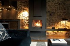 Fire place on stone