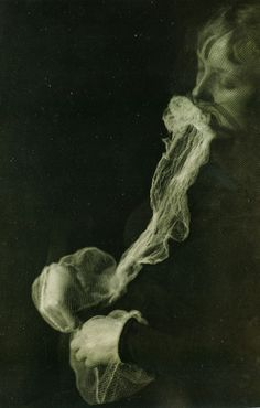 Victorian spiritualism photography | Here's Medium Stanislawa with her Ectoplasm from 1913