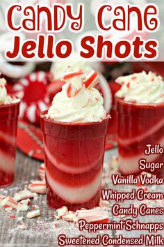 Alcoholic Drinks Recipes With Vodka, Jello Shot Recipes, Alcohol Drink Recipes, Yummy Drinks, Dessert Recipes, Alcoholic Shots, Alcoholic Desserts, Christmas Jello Shots, Christmas Drinks